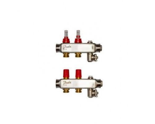 Коллектор нерж сталь, евроконус 3/4 НР 2 выхода SSM-2F с расходомерами, Danfoss 088U0752