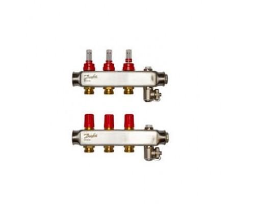 Коллектор нерж сталь, евроконус 3/4 НР 3 выхода SSM-3F с расходомерами, Danfoss 088U0753