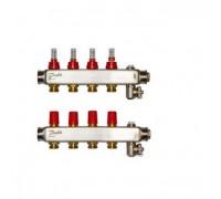 Коллектор нерж сталь, евроконус 3/4 НР 4 выхода SSM-4F с расходомерами, Danfoss 088U0754