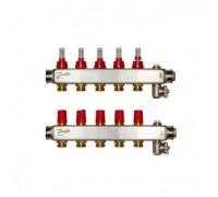 Коллектор нерж сталь, евроконус 3/4 НР 5 выходов SSM-5F с расходомерами, Danfoss 088U0755
