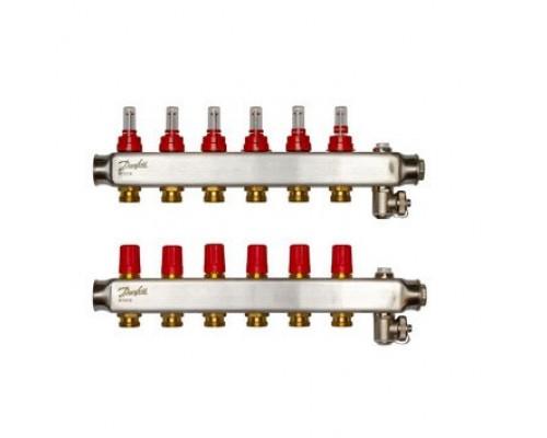 Коллектор нерж сталь, евроконус 3/4 НР 6 выходов SSM-6F с расходомерами, Danfoss 088U0756