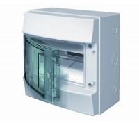 Щит распределительный навесной ЩРн-п 8М пластиковый прозрачная дверь Mistral65 с клеммами