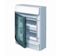 Щит распределительный навесной ЩРн-п 24М пластиковый прозрачная дверь Mistral65 с клеммами