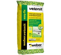 Клей для плитки и керамогранита цементный Вебер.Ветонит Изи Фикс (weber.vetonit Easy Fix) для наружных и внутренних работ, 25кг