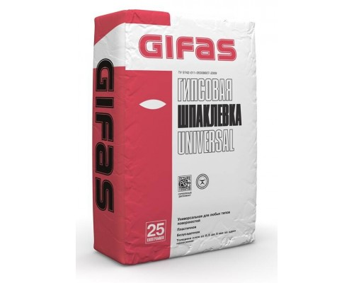 Шпаклевка гипсовая Гифас Универсал (Gifas Universal) финишная, 25кг