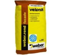 Шпаклевка цементная фасадная Вебер.ренд Фасад Винтер серый (weber.rend facade grey winter), 20кг