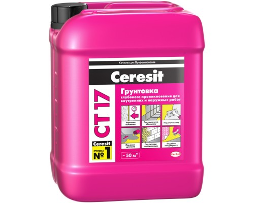 Грунтовка Церезит CT17 (Ceresit CT17) для укрепления и импрегнирования оснований морозостойкая, 5л
